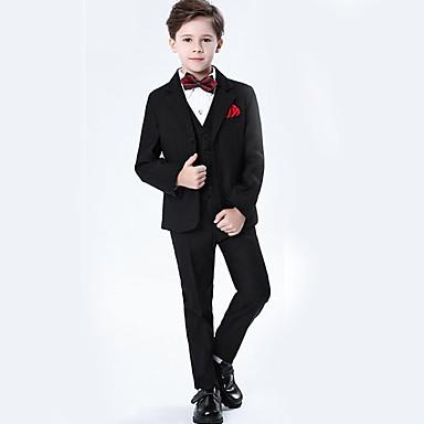 povoljno Odjeća za dječake-Djeca Dječaci Osnovni Jednobojni Dugih rukava Normalne dužine Komplet odjeće Crn