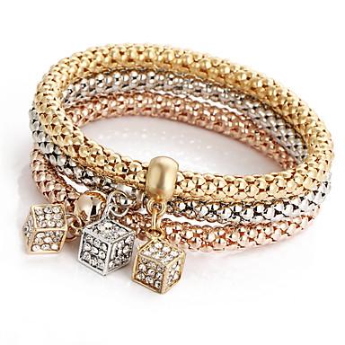 voordelige Herensieraden-3 stuks Heren Dames Kristal Bedelarmbanden Armband Vintagestijl Bohémien Modieus Legering Armband sieraden Regenboog Voor Avond Feest Verjaardag