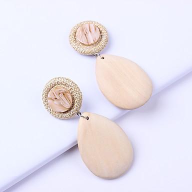 povoljno Modne naušnice-Žene Viseće naušnice Kruška Alphabet Shape pomodan Korejski Moda Moderna Smola Drvo Naušnice Jewelry Bež / bijelo Za Dnevno Ulica Praznik Rad 1 par