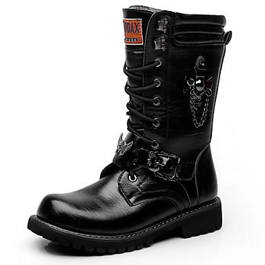 สำหรับผู้ชาย Fashion Boots Synthetics ฤดูใบไม้ร่วง & ฤดูหนาว ไม่เป็นทางการ / อังกฤษ บูท รักษาให้อุ่น บู้ทสูงระดับกลาง สีดำ / พรรคและเย็น