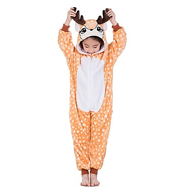 29a935ad1c4a Kid s Kigurumi Pajamas Reindeer Onesie Pajamas Flannel Fabric Orange  Cosplay For Boys and Girls Animal Sleepwear Cartoon Festival   Holiday  Costumes 6988110 ...