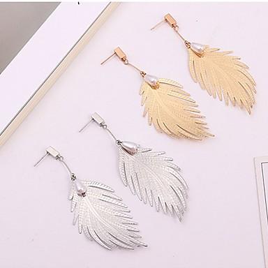 Žene Viseće naušnice 3D Leaf Shape dame Stilski Jednostavan Imitacija bisera Naušnice Jewelry Zlato / Pink Za Dnevno 1 par
