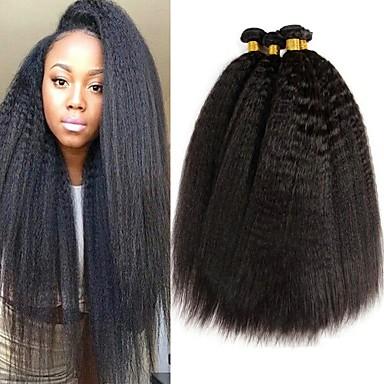povoljno Ekstenzije za kosu-4 paketića Brazilska kosa Yaki Ljudska kosa Ljudske kose plete Bundle kose Jedan Pack Solution 8-28 inch Prirodna boja Isprepliće ljudske kose Najbolja kvaliteta Za crnkinje 100% Djevica Proširenja