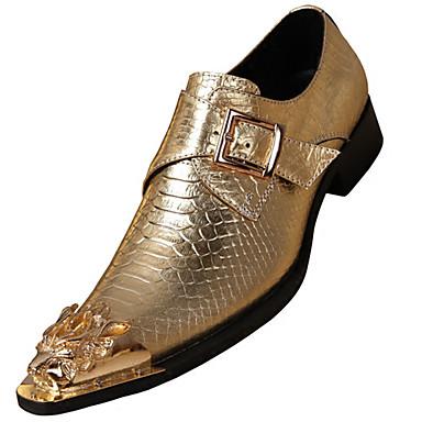 billige Oxfordsko til herrer-Herre Formell Sko Nappa Lær Høst Britisk En pedal Skli Gull / Sølv / Fest / aften / Fest / aften / Pen sko
