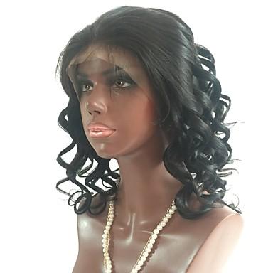 Remy-hår Obehandlat Mänsligt hår Spetsfront Peruk Frisyr i lager stil Brasilianskt hår Vågigt Svart Peruk 130% Hårtäthet med babyhår Naturlig hårlinje obearbetade Dam Mellan Äkta peruker med hätta