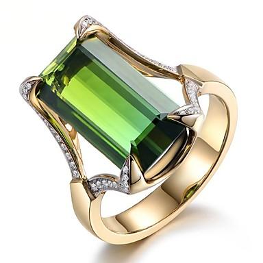 voordelige Dames Sieraden-Dames Ring Smaragd 1pc Groen Hars Koper Strass Rond Geometrische vorm Rechthoekig Dames Stijlvol Luxe Lahja Sieraden Vintagestijl patiencespel Cocktailring Humeur
