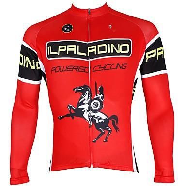 ILPALADINO Muškarci Dugih rukava Biciklistička majica Crvena Bicikl Biciklistička majica Majice Ugrijati Podstava od flisa Ultraviolet Resistant Sportski Zima Elastan Runo Brdski biciklizam biciklom