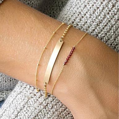 levne Dámské šperky-3ks Dámské Červená Křišťál ID náramek Link / řetězec Bar dámy příroda Moderní Měď Náramek šperky Zlatá Pro Denní Jdeme ven