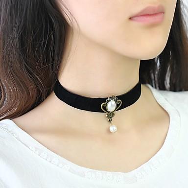 levne Dámské šperky-Dámské Obojkové náhrdelníky Klasika dámy Doll's Lolita Napodobenina perel Samet Černá 30+8 cm Náhrdelníky Šperky 1ks Pro Denní Festival