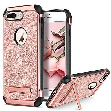 povoljno iPhone maske-Θήκη Za Apple iPhone 8 Plus / iPhone 8 / iPhone 7 Plus Otporno na trešnju / sa stalkom / Pozlata Stražnja maska Šljokice Tvrdo PU koža / TPU / PC