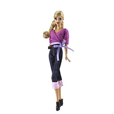 levne Doplňky pro panenky-Oblečení pro panenky Doll Pants Kalhoty Topy 2 pcs Pro Barbie Módní Ametyst Netkaná textilie Látka Bavlněné tkaniny Vrchní deska / Kalhoty Pro Dívka je Doll Toy