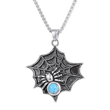levne Pánské šperky-Pánské Tyrkysová Náhrdelníky s přívěšky Cameo Pavouci Módní Nerez Zlatá Černá Stříbrná 55 cm Náhrdelníky Šperky 1ks Pro Dar Denní