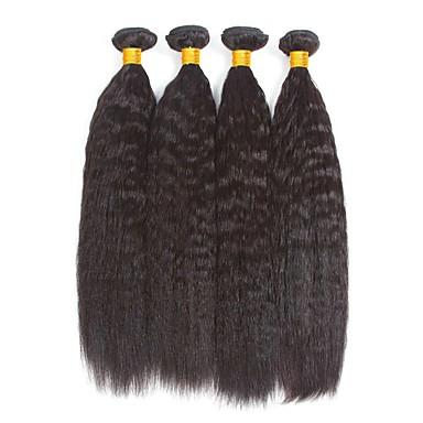 povoljno Ekstenzije od ljudske kose-4 paketića Burmanska kosa Yaki Straight Ljudska kosa Netretirana  ljudske kose Ljudske kose plete Produžetak Bundle kose 8-28 inch Prirodna boja Isprepliće ljudske kose Jednostavan Party Novi Dolazak