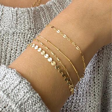 preiswerte Ketten Armband-4pcs Damen ID Armband Gliederkette Zierlich damas Modisch Elegant Zart Aleación Armband Schmuck Gold / Silber Für Alltag Arbeit