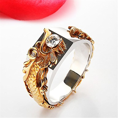 billige Motering-Par Statement Ring Kubisk Zirkonium 1pc Gull Kobber Strass Geometrisk Form Annerledes Statement damer Stilfull Gave Gate Smykker Skulptur Drage Kul