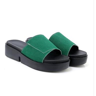 voordelige Damespantoffels & slippers-Dames Slippers & Flip-Flops Comfort schoenen Platte hak Suède / Microvezel Zomer Geel / Groen / Roze