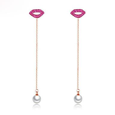 povoljno Modne naušnice-Žene Fuksija Naušnice sprijeda i straga Long Usne dame Stilski Korejski Biseri Pozlata od crvenog zlata Naušnice Jewelry Rose Gold Za Ulica 1 par