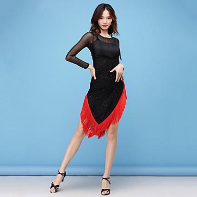 7e8465079e99 Latin Dance Dresses Women's Performance Nylon Tassel / Split Joint /  Paillette Long Sleeve High Dress 6974198 2019 – $59.99