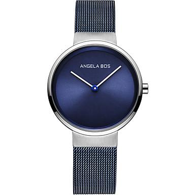 levne Dámské-Angela Bos Dámské Náramkové hodinky japonština Japonské Quartz Nerez Černá / Modrá / Šedá 30 m Voděodolné Hodinky na běžné nošení Analogové dámy Minimalistické Vánoce - Černá Modrá Šedá Jeden rok