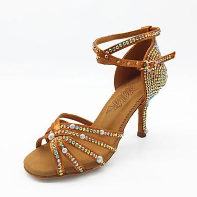 Žene Plesne cipele Saten Cipele za latino plesove Štras / Umjetni biser / Svjetlucave šljokice Sandale Tanka visoka peta Braon / Seksi blagdanski kostimi / Vježbanje