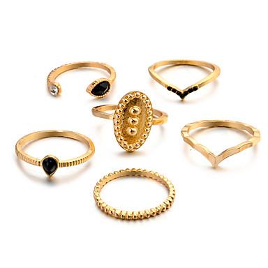 billige Motering-Dame Knokering Ring Set Multi-fingerring 6pcs Gull Sølv Harpiks Legering Oval damer Vintage Punk Gave Daglig Smykker Retro Sol Kul