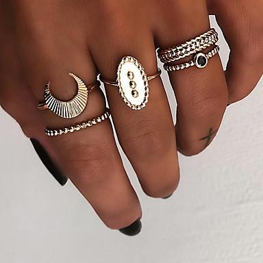 billige Motering-Dame Knokering Ring Set Multi-fingerring 5pcs Gull Sølv Harpiks Legering Oval damer Vintage Punk Gave Daglig Smykker Retro MOON Kul