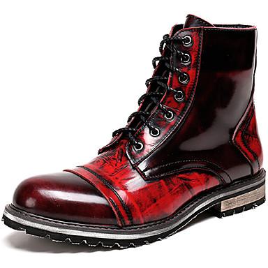 สำหรับผู้ชาย Fashion Boots แน๊บป้า Leather ฤดูใบไม้ร่วง & ฤดูหนาว คลาสสิก / ไม่เป็นทางการ บูท รักษาให้อุ่น รองเท้าบู้ทหุ้มข้อ ไล่โทนสี แดง / สำนักงานและอาชีพ / รองเท้าคอมแบท