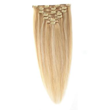 voordelige Extensions van echt haar-Neitsi Clip-in Extensions van echt haar Recht Onbehandeld haar Extentions van mensenhaar Ombre Dames Strawberry Blonde / Bleached Blonde