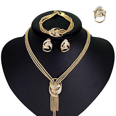 levne Dámské šperky-Dámské Kubický zirkon Náhrdelník Náušnice Náramek Laso Prohlášení dámy stylové Evropský Elegantní italština Štras Pozlacené Náušnice Šperky Zlatá Pro Svatební Párty Zásnuby Koktejlový večírek