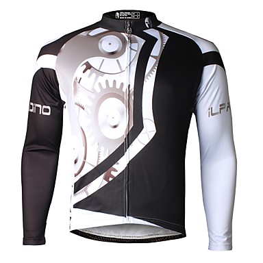 aaa7566ce ILPALADINO Men s Long Sleeve Cycling Jersey - Black Bike Jersey Top Thermal    Warm Fleece Lining Ultraviolet Resistant Sports Winter Elastane Mountain  Bike ...