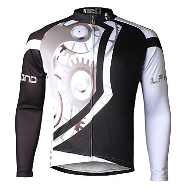 ILPALADINO Men s Long Sleeve Cycling Jersey - Black Bike Jersey Top Thermal    Warm Fleece Lining Ultraviolet Resistant Sports Winter Elastane Mountain  Bike ... 3263224c6