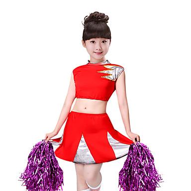 Kostimi za navijačice Outfits Djevojčice Seksi blagdanski kostimi Spandex Kombinacija materijala Bez rukávů Sudačko Suknje / Top