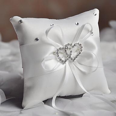 povoljno Vjenčanje-Običan saten Štras / Uzde Saten ring pillow Monogram Sva doba