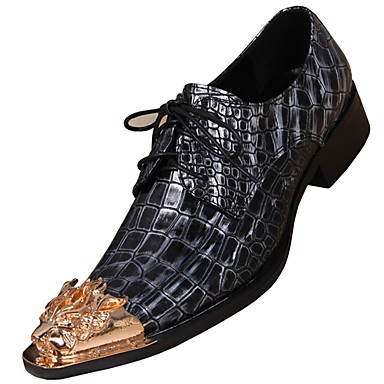 billige Oxfordsko til herrer-Herre Lærsko Nappa Lær Vår Britisk Oxfords Skli Svart / Fest / aften / Fest / aften / Pen sko