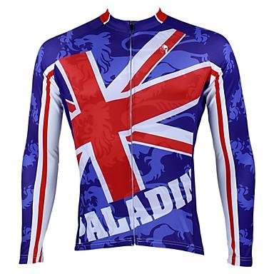 ILPALADINO Muškarci Dugih rukava Biciklistička majica Plava Bicikl Biciklistička majica Majice Ugrijati Podstava od flisa Ultraviolet Resistant Sportski Zima Elastan Runo Brdski biciklizam biciklom