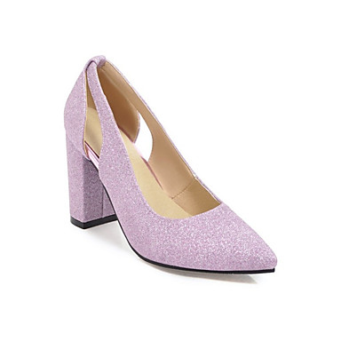 cheap Women's Heels-Women's Pumps Microfiber / PU(Polyurethane) Spring &  Fall Heels Chunky Heel Pointed Toe Sequin Black / Silver / Purple / Wedding / Party & Evening