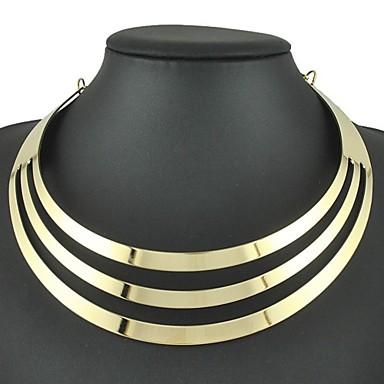 levne Dámské šperky-Dámské Obojkové náhrdelníky Tork Náhrdelník Duté Mír Naděje dámy Punk Evropský Módní Slitina Zlatá 45 cm Náhrdelníky Šperky 1ks Pro Denní Karneval