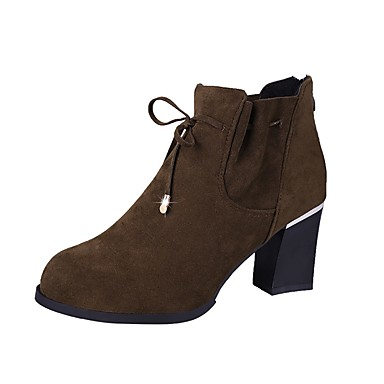 4c3493a0e33 [$20.99] Women's Fashion Boots Suede Winter Boots Chunky Heel Round Toe  Booties / Ankle Boots Black / Coffee