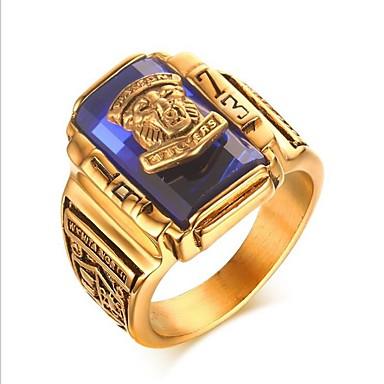 levne Pánské šperky-Pánské Midi Ring Pečetní prsten Syntetický akvamarín 1ks Tmavomodrá Červená Zelená Titanová ocel Geometric Shape Vintage Armáda Párty Denní Šperky Klasika Prsteny na střední škole Třída Cool