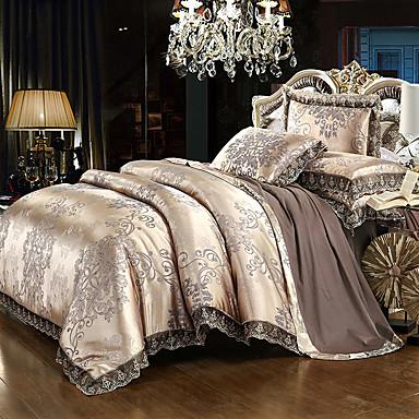 cheap Duvet Cover Sets-Duvet Cover Sets Luxury Silk Cotton Blend Reactive Print 4 Piece Bedding Set With Pillowcase Bed Linen Sheet Single Double Queen King Size Quilt queen