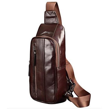 c1a00967d5fb Men s Bags Cowhide Sling Shoulder Bag Zipper Solid Color Coffee   Dark Brown  6991069 2019 –  84.99
