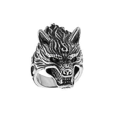 levne Pánské šperky-Pánské Band Ring 1ks Stříbrná Titanová ocel Kulatý Tetování Vintage Guro Lolita Halloween Karneval Šperky Ryté Vlčí hlava Cool