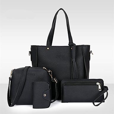 cheap Bag Sets-Women's Tassel PU Bag Set Bag Sets 4 Pieces Purse Set Black / Brown / Blushing Pink / Fall & Winter