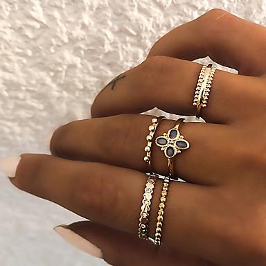billige Motering-Dame Knokering Ring Set Multi-fingerring 5pcs Gull Sølv Harpiks Fuskediamant Legering Sirkelformet damer Vintage Punk Gave Daglig Smykker Retro Clover Kul