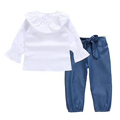 cheap Baby & Kids-Baby Girls' Active / Basic Daily / Holiday Solid Colored Ruffle Long Sleeve Regular Regular Cotton Clothing Set White / Toddler