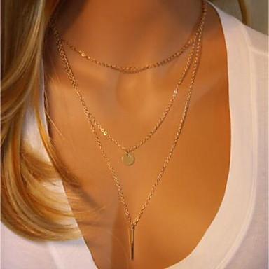 povoljno Modne ogrlice-Žene slojeviti Ogrlice Dvaput Slojeviti dame pomodan Moda Krom Zlato 40 cm Ogrlice Jewelry 1set Za Kamado roštilj