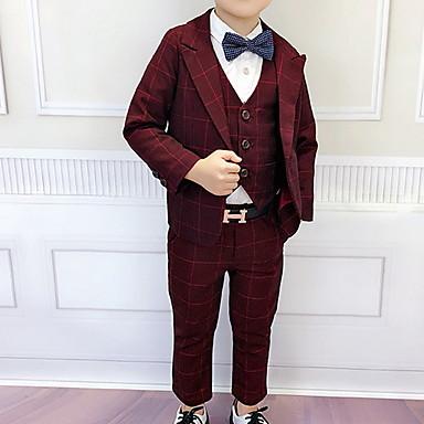 povoljno Kompletići za dječake-Djeca Dječaci Ulični šik Karirani uzorak Dugih rukava Normalne dužine Komplet odjeće Plava