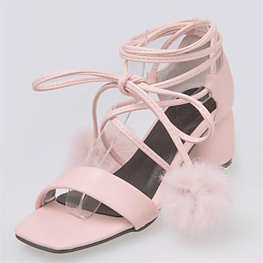 de5ef7f3fe4 Women s Strappy Stacked Heels PU(Polyurethane) Summer Sweet Sandals Chunky  Heel Open Toe Pom-pom White   Black   Pink   Wedding 6972557 2019 –  30.44