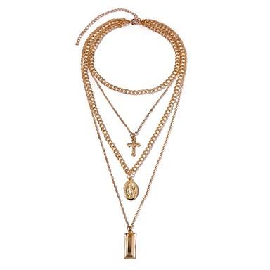 povoljno Modne ogrlice-Žene slojeviti Ogrlice Duga ogrlica Više slojeva Kereszt dame Etnikai Moda Legura Zlato 41+5 cm Ogrlice Jewelry 1pc Za Dnevno Festival