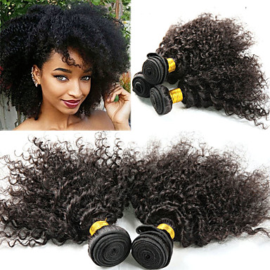 povoljno Ekstenzije za kosu-3 paketa Peruanska kosa Afro Kinky Kinky Curly Remy kosa Ekstenzije od ljudske kose 8-26 inch Natural Isprepliće ljudske kose Najbolja kvaliteta Novi Dolazak Rasprodaja Proširenja ljudske kose / 10A